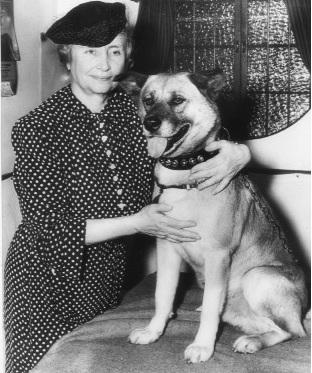 Helen Keller with akita