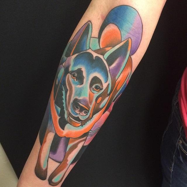 akita inu color tattoo photo