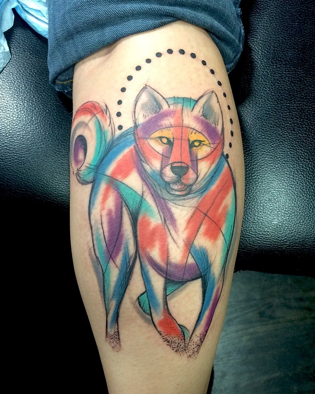 color akita tattoo design