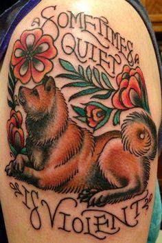 color design tattoo akita inu