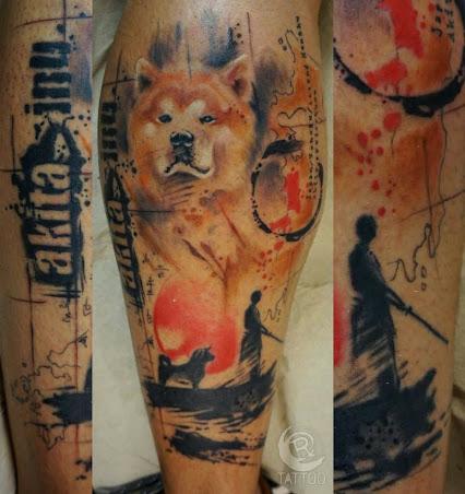 tattoo design dog akita inu