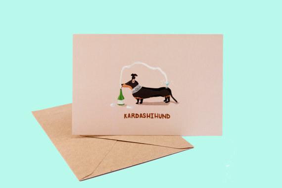 Kim Kardashian sausage dog greeting card